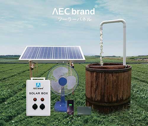 ปั๊มน้ำโซล่าเซลล์-Solar-Pump-100X-แถมพัดลมฟรี-รุ่นนี้เปิดพัดลมได้-โดย-AEC-brand